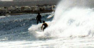 Kim & Unknown Surfer at La Santa Right